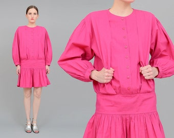 Vintage 80s Pink Dress Drop Waist Dress, Cotton Mini Dress, 80s Suspender Dress, Puff Sleeve, Pink Cotton, 80s Clothing, Small S