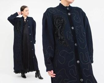 Vintage 80s Black Sweater Coat - Full Length Coat Velvet Beaded Cardigan - Oversize Wool Sweater Coat - 80s Long Coat - Avant Garde Coat M L