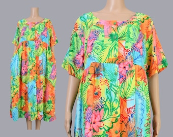 Vintage 90s Tent Dress | BOLD Floral Dress | Tropical Summer Beach | Oversize Dress | 1990s Babydoll Dress | Colorful Midi Dress | L XL