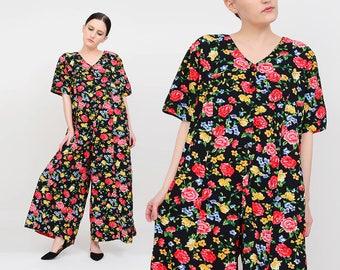 Vintage 80s 90s Black Floral Jumpsuit | Wide Leg Pantsuit | Cotton Jumpsuit | One Piece Cropped Leg Boho Grunge Romper | Medium Large M L