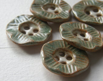 spearmint green handmade textured hexagon ceramic buttons