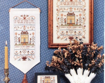"Homespun Elegance #94 ""Where Your Treasure Is"" Wedding Anniversary Sampler Cross Stitch Pattern"