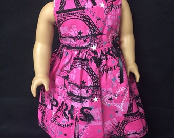 Doll Clothes for 18 Inch Dolls, Handmade to Fit Like American girl, Dreaming of Paris, Paris Forever Eiffel Tower Dress