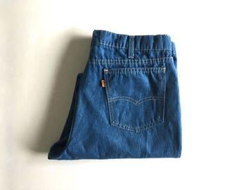 """Vintage Men's 70's Levi's Action Jeans, Orange Tab, Straight Leg, Denim (W34"""" x L29"""")"""