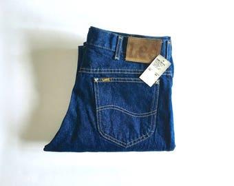 Vintage Men's 80's Unworn, Lee Jeans, Dark Wash, Denim, Long (W33 x L34)