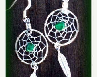 ON SALE DREAMCATCHER Earrings silver with malachite