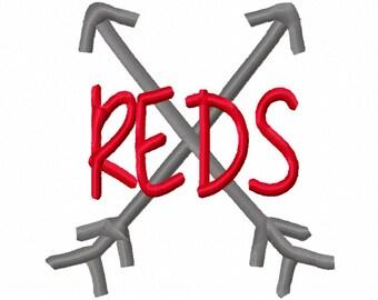 Reds Cross Arrows Machine Embroidery Design 4x4 5x7 6x10 Cincinnati Team Instant Download Basketball Football Baseball Sports little league