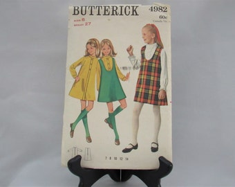 Vintage  Butterick Girls  Button Front  Dress Size 10 bust 28 inches  Style  2192