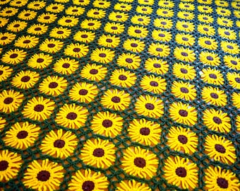 Vintage Sunflower Daisy Chain Crochet Afghan Throw Blanket