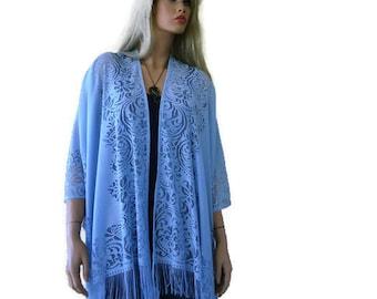 Light Blue Bohemian Lace Kimono cardigan-Pale blue fringe kimono- kimono-Oversize kimono