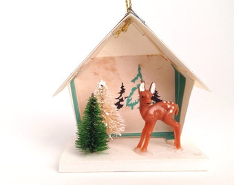 Putz House Christmas Ornament/Fawn/Deer and Trees