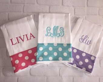 Newborn gift for Mom! Set of 3 Personalized Monogrammed Burp Cloths Burpies Burp Clothes Best new baby gift!