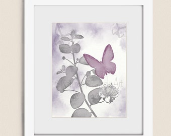 11 x 14 Wall Art Butterfly Print, Butterfly Wall Decor for Bedroom, Butterfly Wall Art Purple and Gray, Girls Room Art (326)