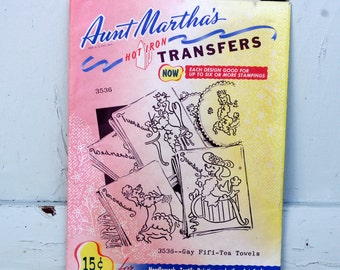 Aunt Martha's Hot Iron Transfers Fifi Tea Towels