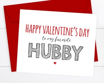 Funny Husband Valentine's Day Card, Funny Valentine's Day Card, Funny Valentine, Happy Valentine's Day to my favorite HUBBY