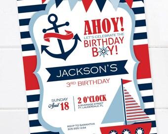 Nautical Birthday Invitation, Nautical Birthday Party, Nautical Stripes, Sail Boat Invitation, PRINTABLE INVITATION
