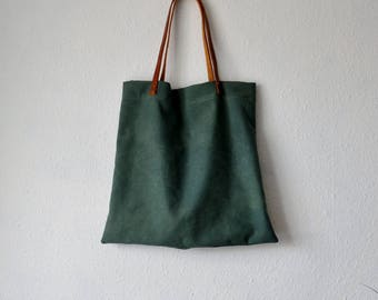 Tote bag green naturally dyed rustic minimalist herb plant ethical pink leather straps handbag shoulder boho bohemian earthy yoga purses eco