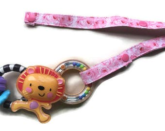 Toy Leash, Sippy Cup Strap, Pacifier Saver -- Pink Roses