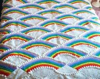 Crochet Rainbow and cloud Afghan