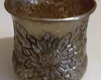 Vintage Silver Vase, Metal Planter, Floral Embossed Design, Made In India, Decorative Vase, Home Decor, Art Deco, Ornate Vase, Beautiful