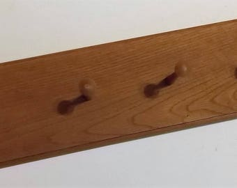 Vintage Oak Coat Rack, Candle or Basket Rack, Hand Crafted, 24 Inches Long, Sturdy Coat Rack, Hall Coat Rack, Bath Towel Rack