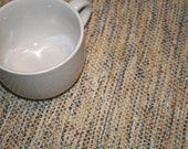 Sand and Sea Handwoven Placemats / Blue and Tan Placemats / Hand Woven Placemats in Tan and Blue