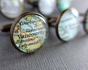 Personalised Cufflinks, Men's Gift, Choose any Two Placenames from Around the World
