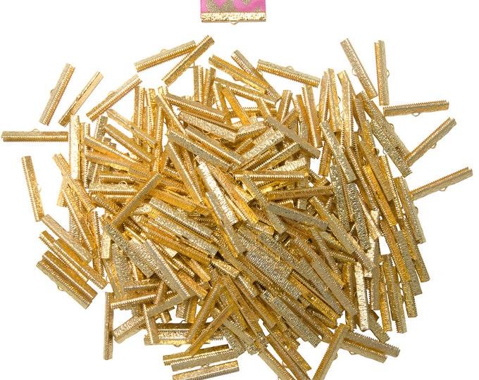 500pcs.  40mm  ( 1 9/16 inch ) Gold Ribbon Clamp End Crimps - Artisan Series