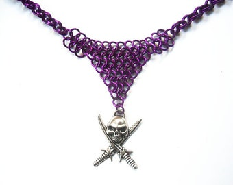 Skull necklace, Skull with swords, Pirate necklace, Silver skull jewelry, Purple skull jewelry