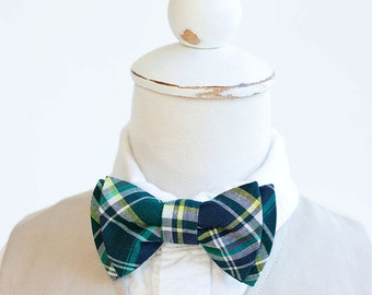 Bow Tie, Boys Bow Tie, Bow Ties, Baby Bow Ties, Bowtie, Bowties, Ring Bearer, Bow ties For Boys, Ties - Navy, Forest, Yellow Plaid