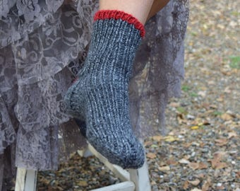 Knit socks dark gray red heart hand knit bed socks tweed socks girls socks slippers gift for her warm socks handmade woman socks Mothers Day