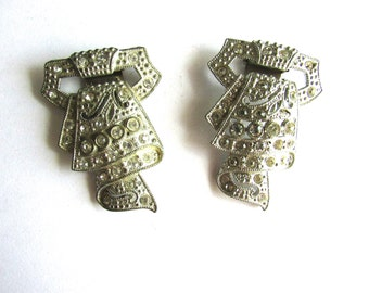 Art Deco Rhinestone Dress Clips Pave Brooch Pair Assemblage White Metal