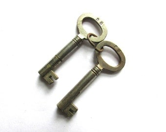 Skeleton Key Lot 2 pc Barrel Vintage Steampunk Gothic Victorian Assemblage Jewelry Supply Silver Tone Gate Keeper