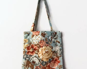 Large floral linen cotton tote and pouch teal copper gold