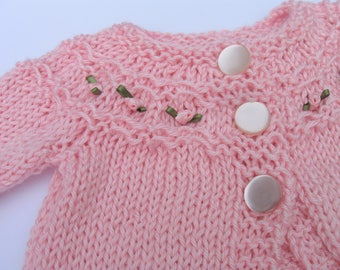 Pink Baby Sweater, Knitted Sweater, 6 Months, Pink Baby Sweater, Rosebud Sweater, Baby Girl, Knit Sweater Hand Knit