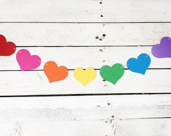 SALE - Rainbow Heart banner - Valentine Heart Party Decor  - Valentine Heart Garland