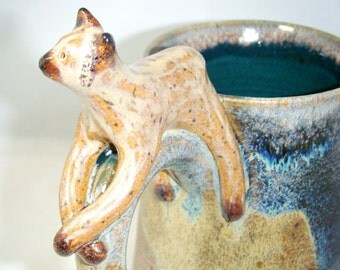 Siamese Cat Mug Kitten Cup Spruce Green Brown