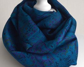 Turquoise Lime Magenta Recycled Sari Silk Scarf Handemade Scarf Recycled Silk Infinity Scarf Silk Sari Eternity Scarf  - CMCISA0295