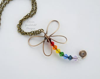 Rainbow Dragonfly necklace, dragonfly pendant, rainbow crystal necklace, crystal dragonfly, rainbow jewellery, wire dragonfly, bronze wings