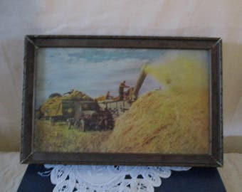 Threshing Picture In Field Wheat Farmers