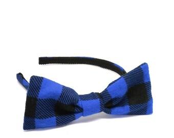 Buffalo Plaid / Checkered Blue and Black - Fall & Winter Plaid Bow Headband -  Adult Bow Headband - Girls Bow Headband for Holidays