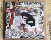 Handmade Cherish Themed Vintage Style Valentine Featuring Old Photo and Lace