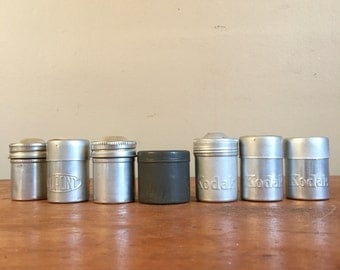 Collection of Vintage Metal Film Canisters / Containers.