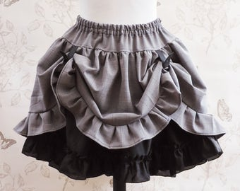 Prince of Walles gray steampunk asymetric skirt - steampunk clothing-steampunk skirt-gothic  skirt -buckle - ruffle skirt- checks-