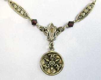 Sterling Silver Necklace Antique Victorian Button Jewelry Romantic Gothic