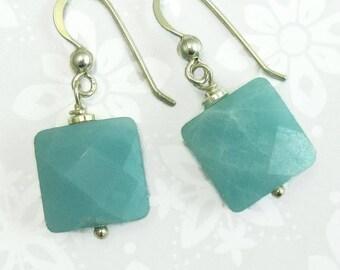 Mint Green Jade Sterling Silver Wire Wrapped Drop Earrings