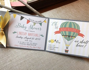 Oh Baby Hot Air Balloon Adventure Up Up And Away Floral Banner Bunting Flag Gray Pastel Blue Pink Yellow Baby Shower Invitation Set - SAMPLE