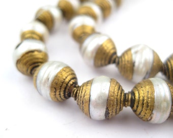 50 Pearl Nepali Brass Capped Beads: Large 10mm Oval Multicolor Rustic Ethnic Handmade Boho Natural Genuine Eco-Friendly (NPL-OVL-MIX-109)