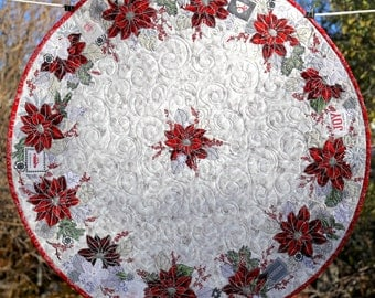 """PAPER PATTERN for a COLLAGE style Good Tidings Christmas 29"""" Round Table Topper Quilt"""