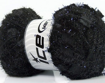 ANGELO ice yarns BLACK metallic sparkly shimmering  7mm US 10 polyamide bulky chunky  100gr 41292